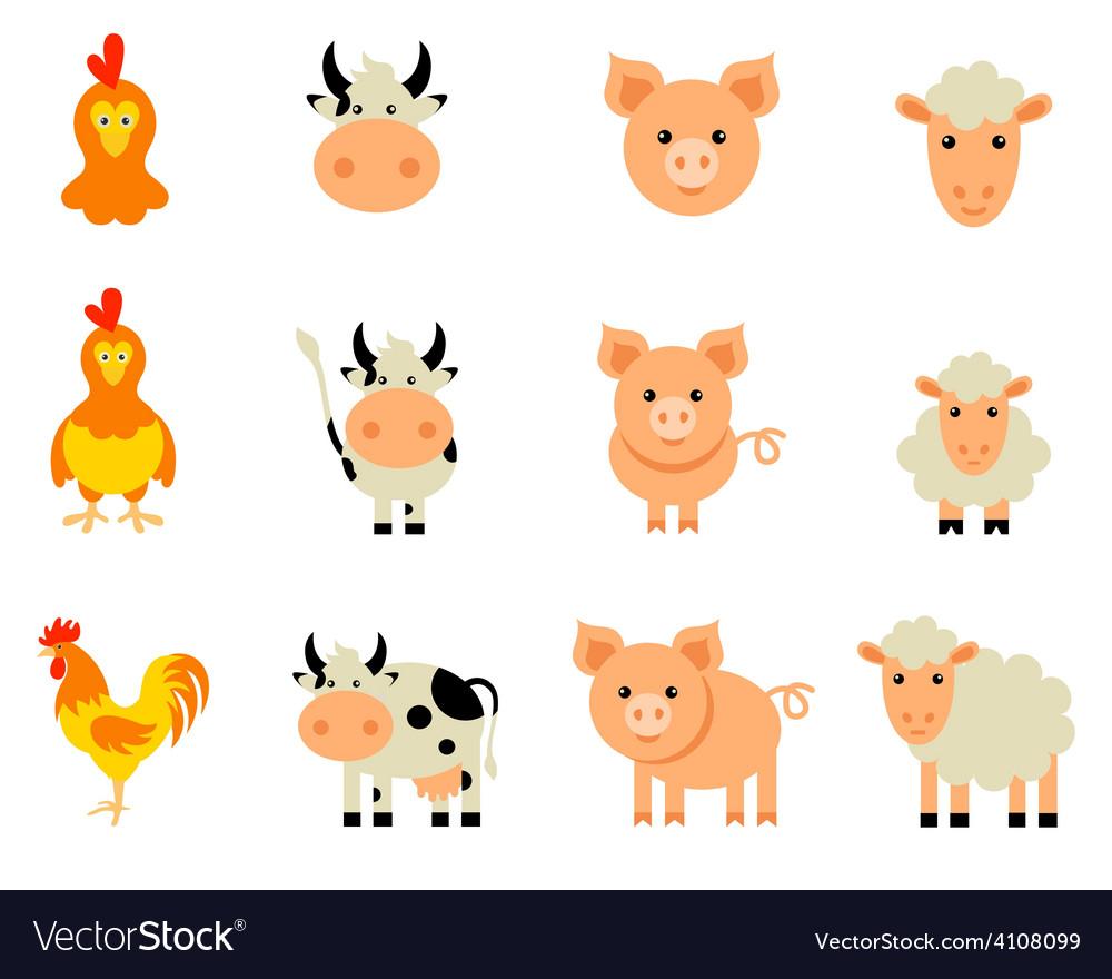 Set isolated farm animals