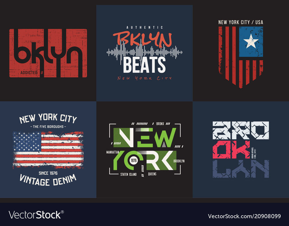 Set six styled new york and brooklyn t