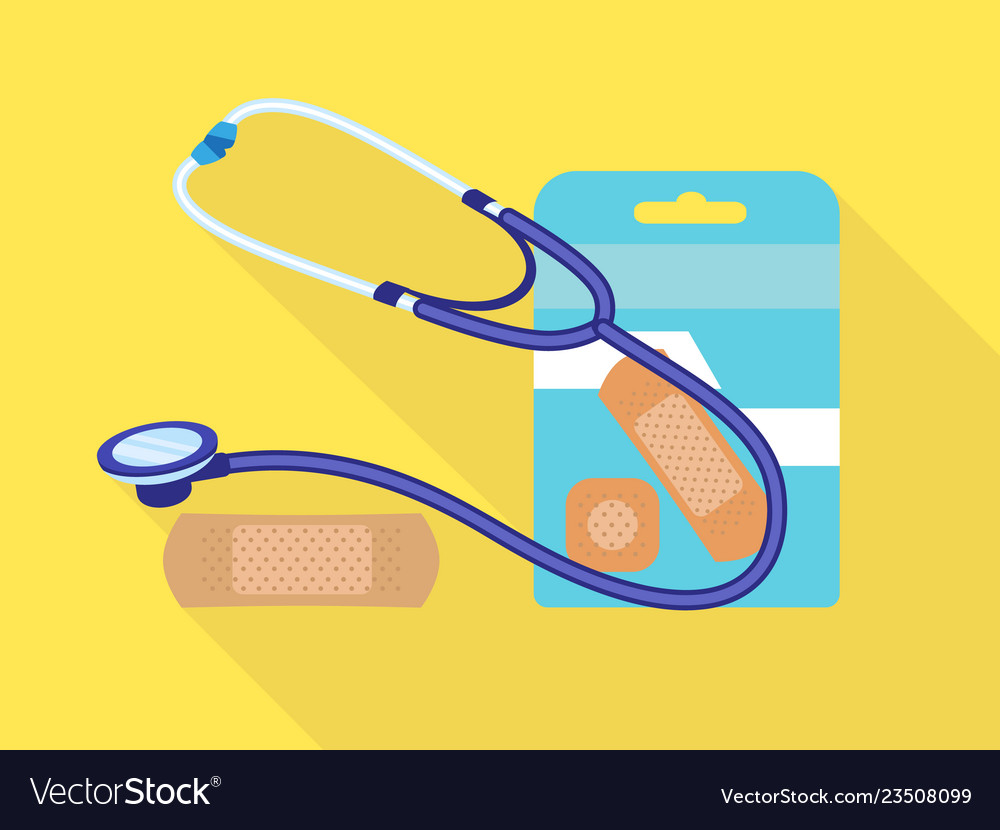 Stethoscope medical patch icon flat style