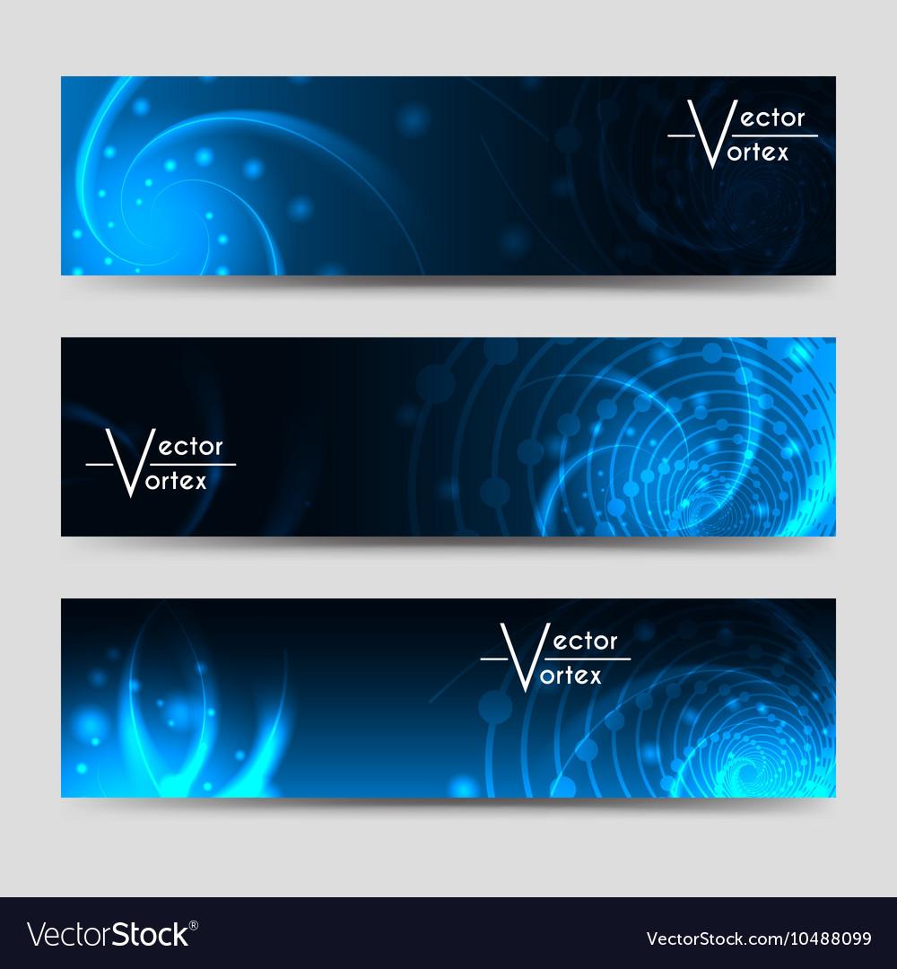 Vortex shine elements horizontal banners set vector image