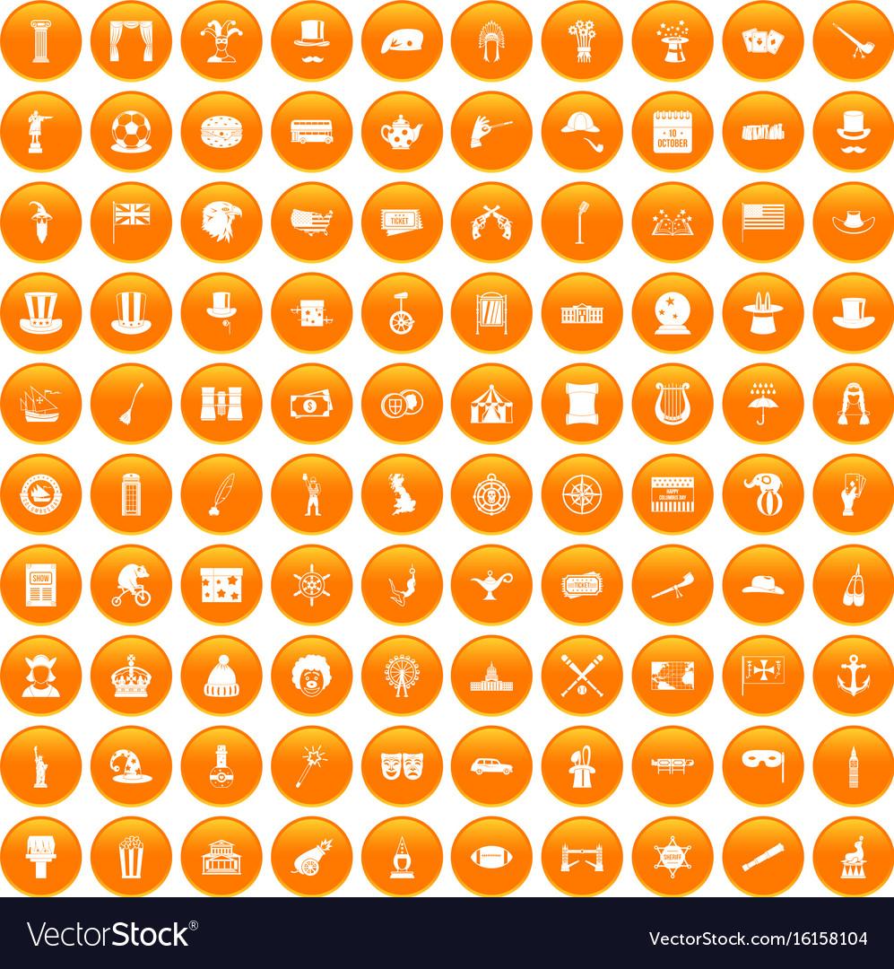 100 top hat icons set orange