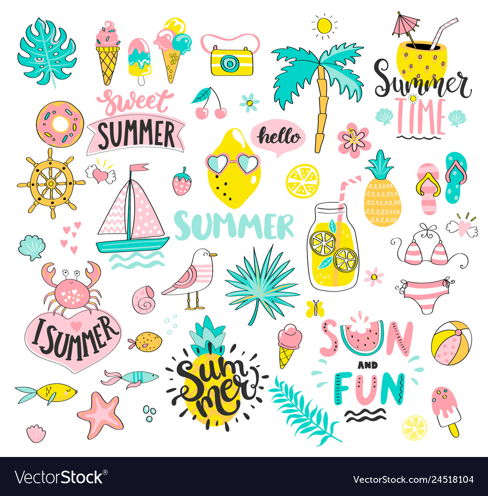 Big summer set of sun and fun hand drawn elements