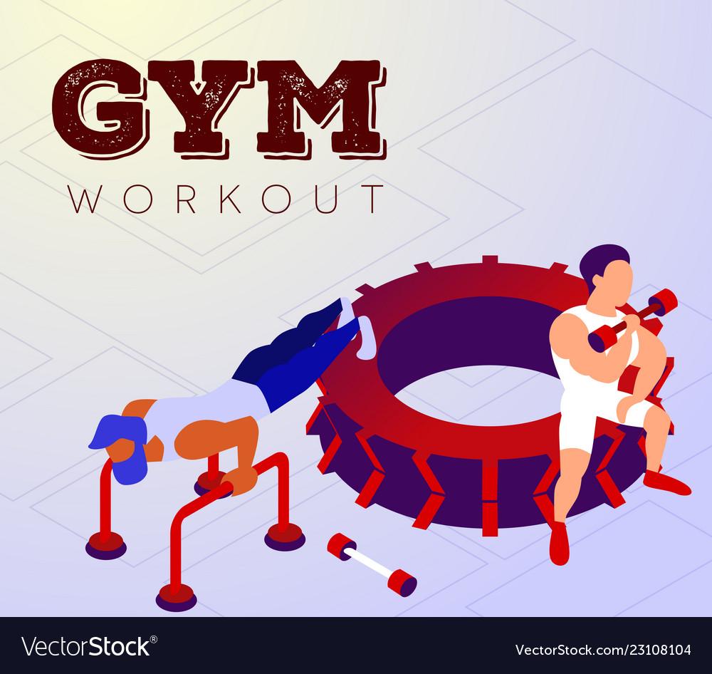 Cartoon man training with instructor in gym