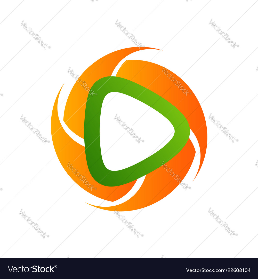 Circle polygonal media player icon logo template