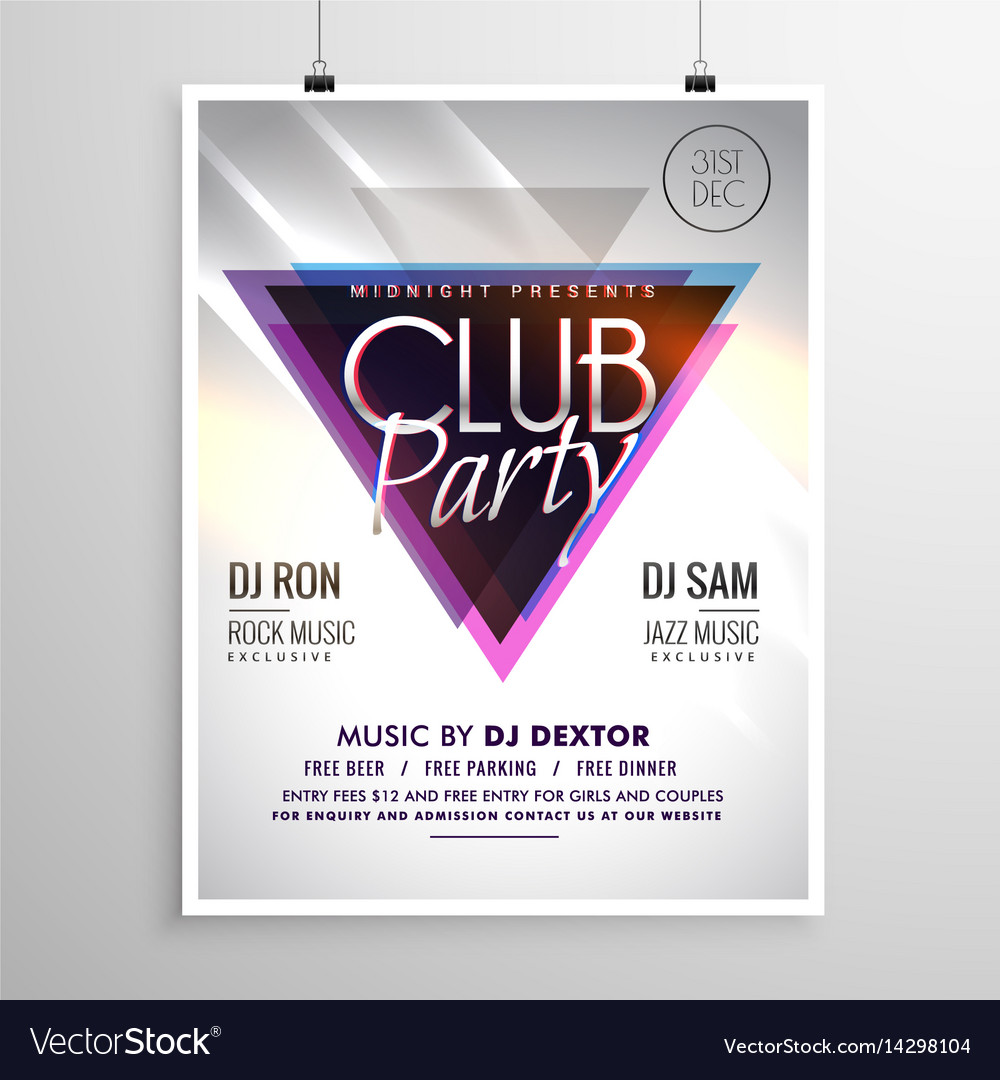 Club party music flyer invitation template poster Vector Image