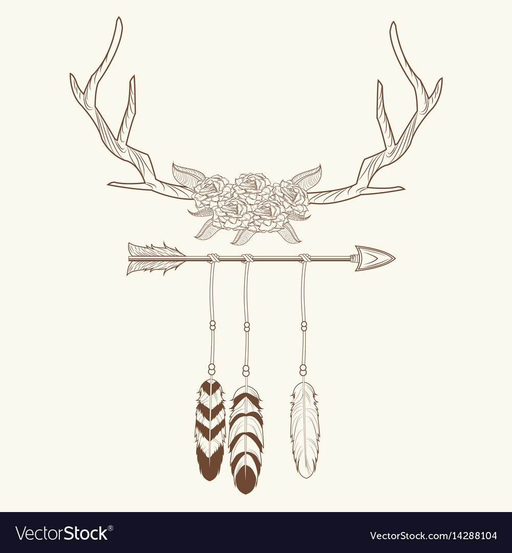 Free spirit horns with feathers style rustic vector image