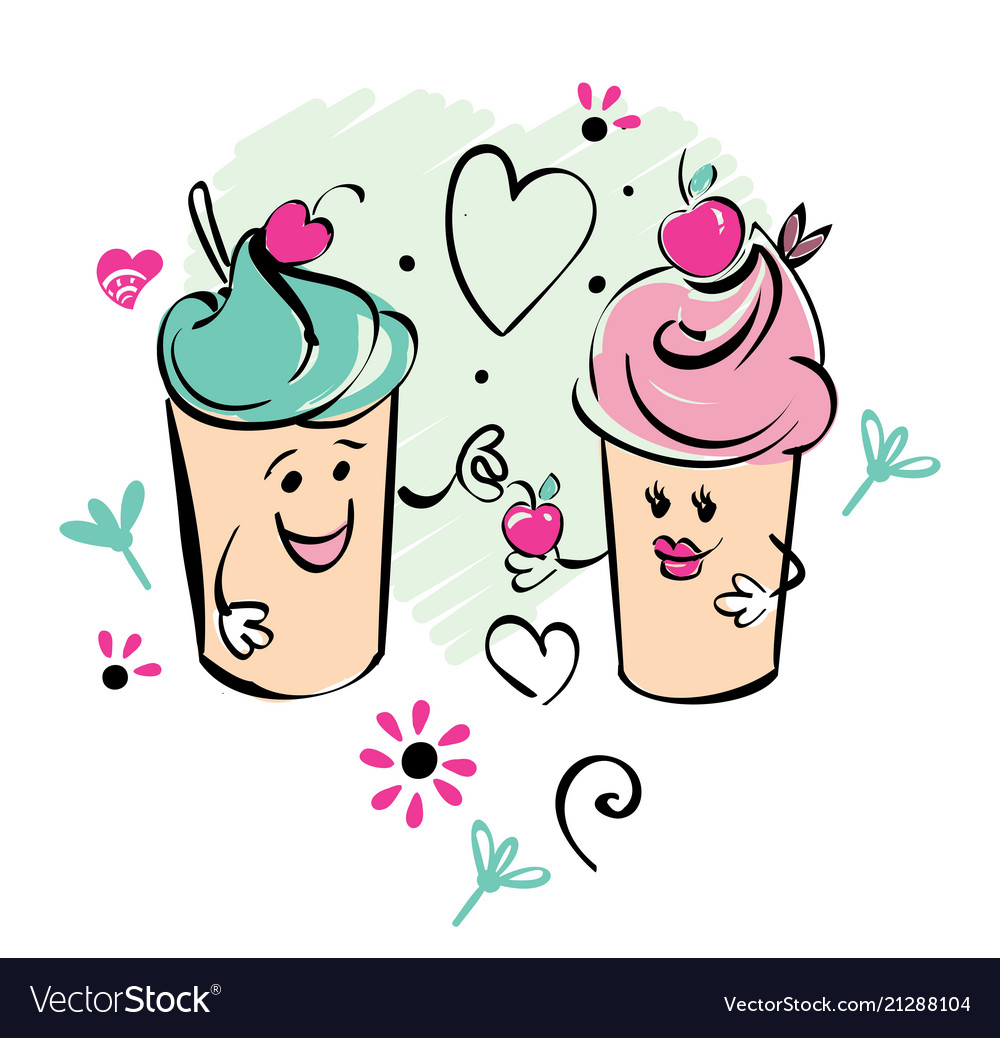 Girl and boy ice cream character and cherry heart