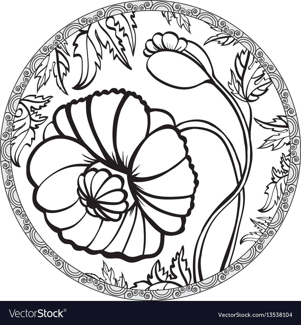 Hand drawn poppy flower meditative vector image