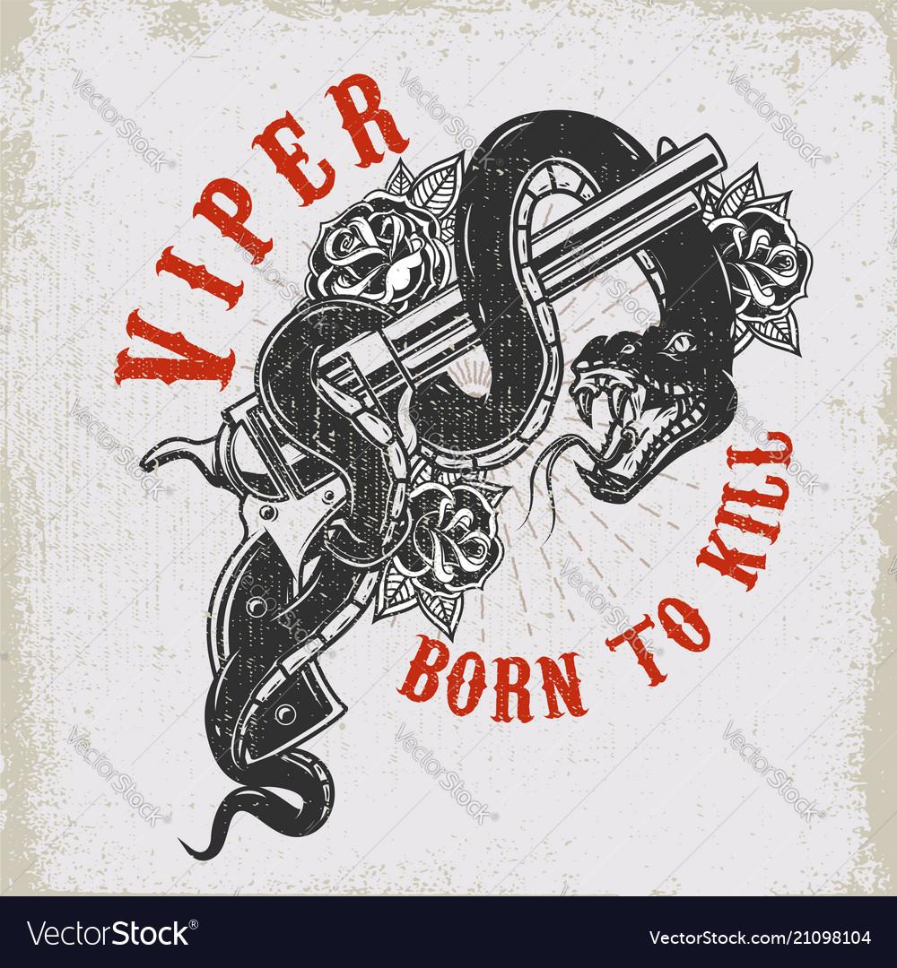 Handgun with snake viper design element for