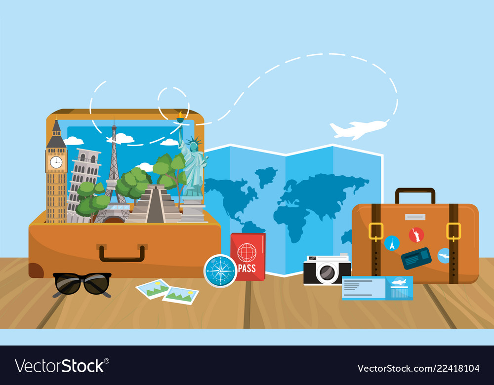 Journey briefcase with global map destination