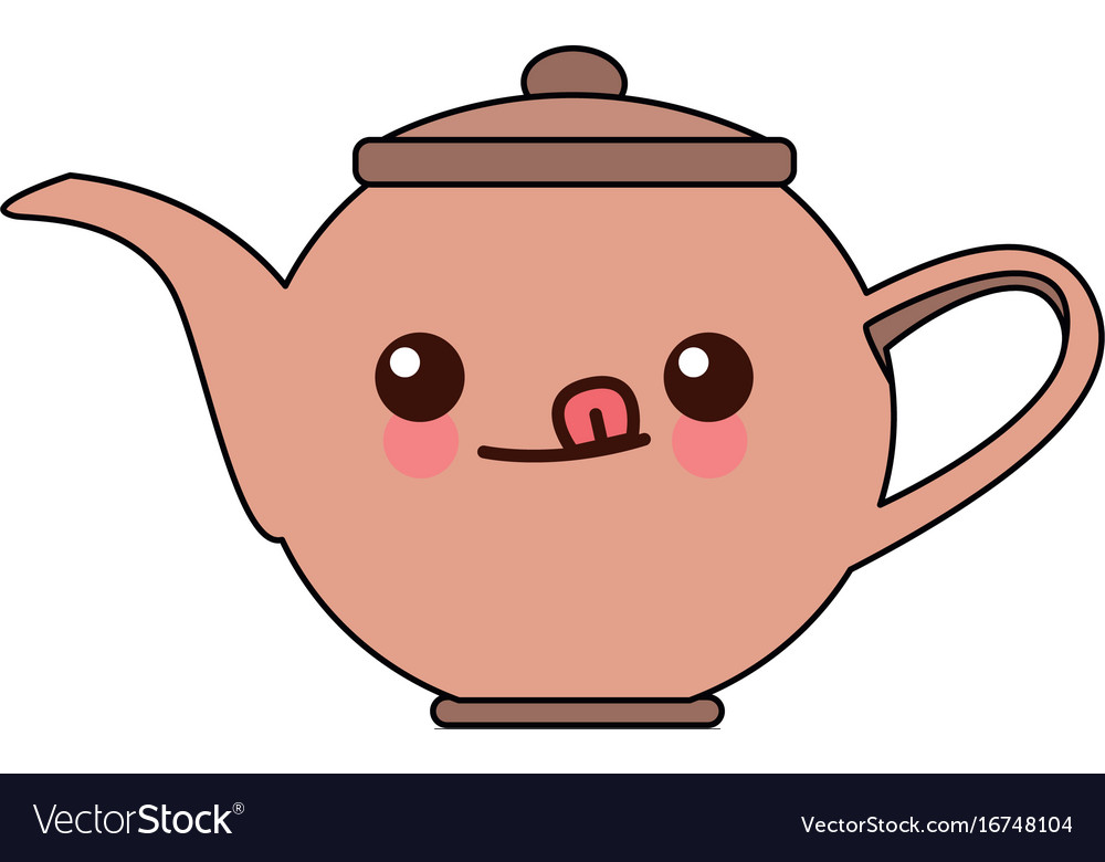 Kawaii Kettle Coffee Tea Hot Beverage Cartoon Vector Image