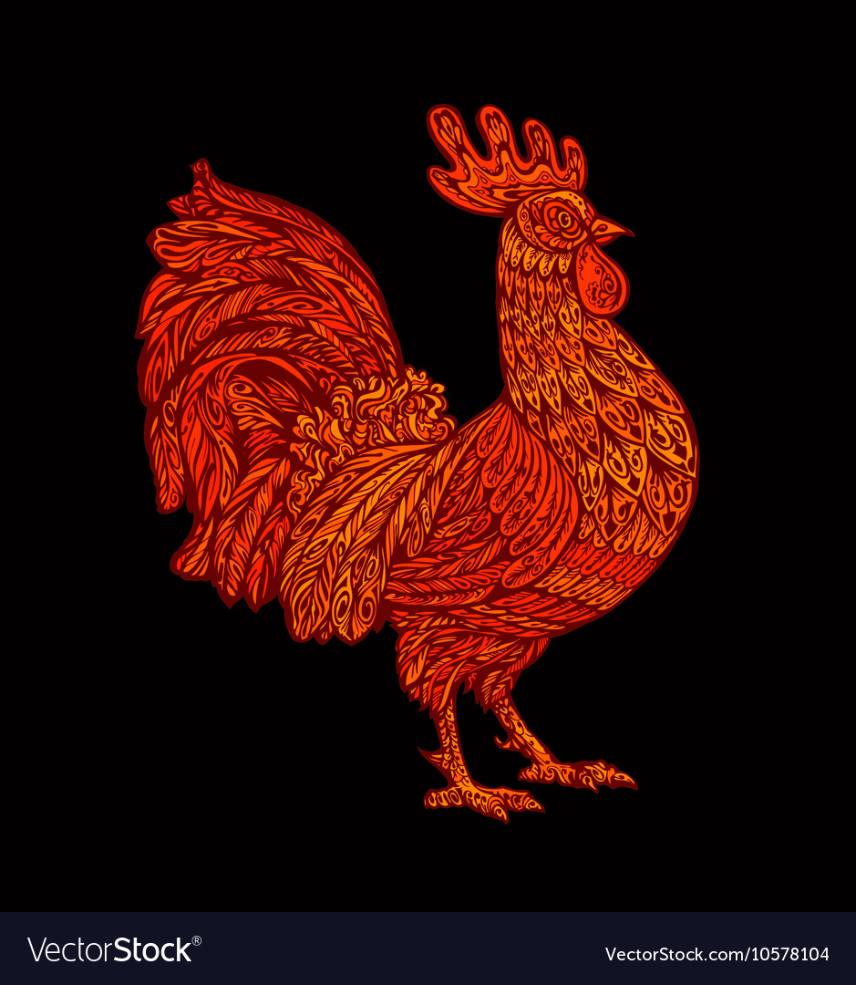 Red rooster cock symbol of hinese New Year 2017