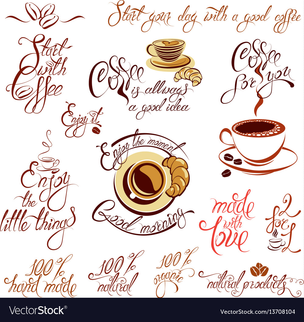 Set of coffee cups icons stylized sketch symbols