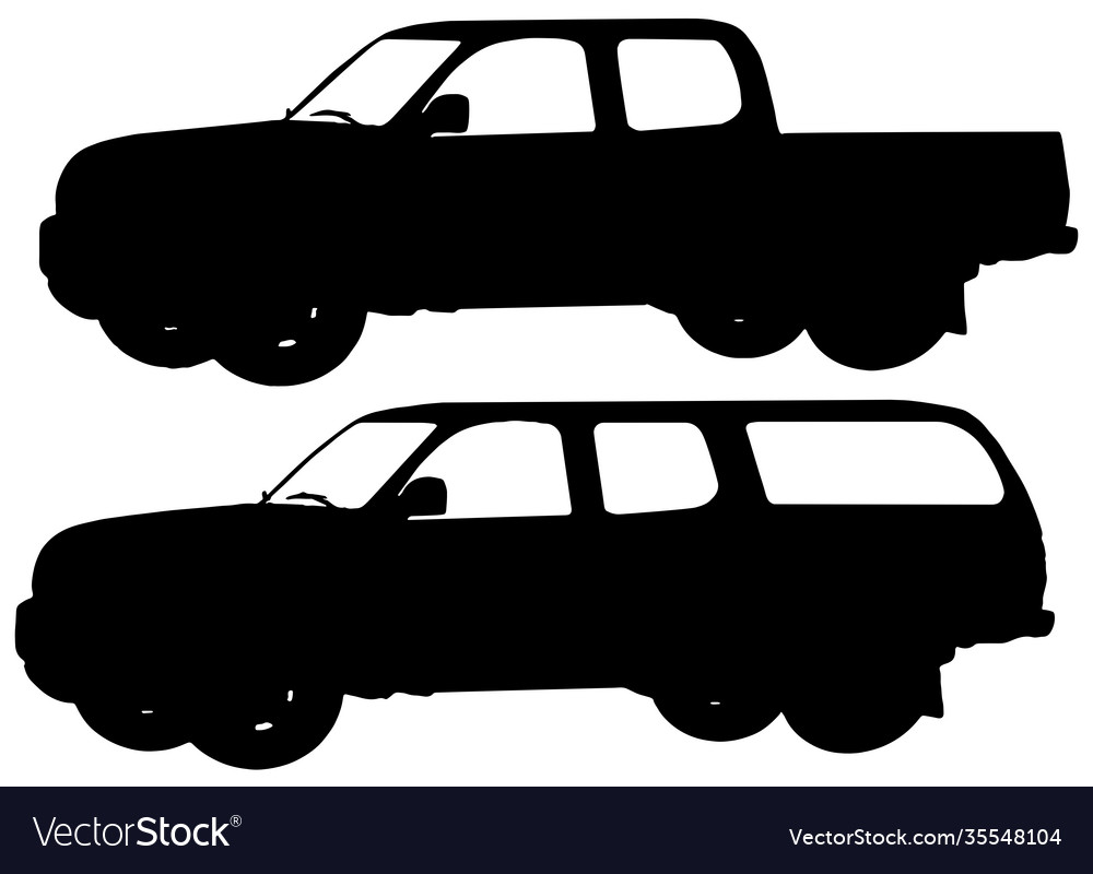 Two pick up trucks silhouettes