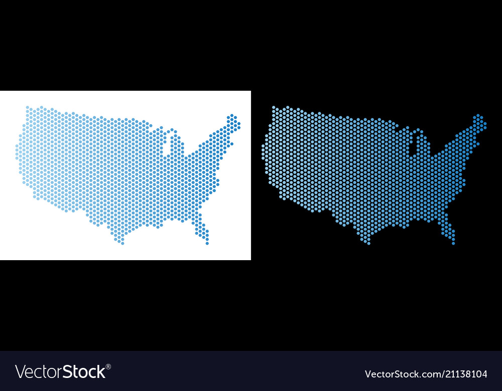 Usa map hex tile abstraction Royalty Free Vector Image