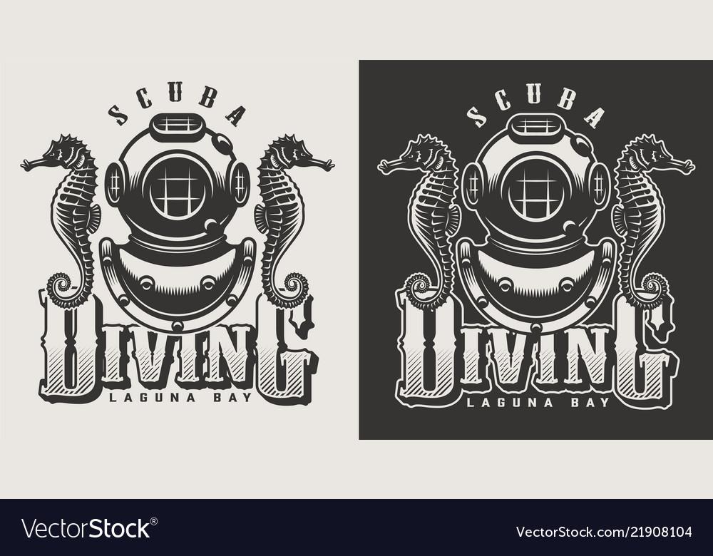 Vintage diving labels
