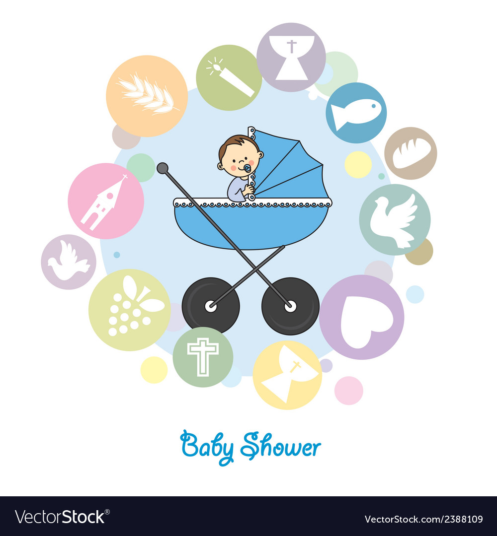Baby Boy Baptism Invitation Card Royalty Free Vector Image