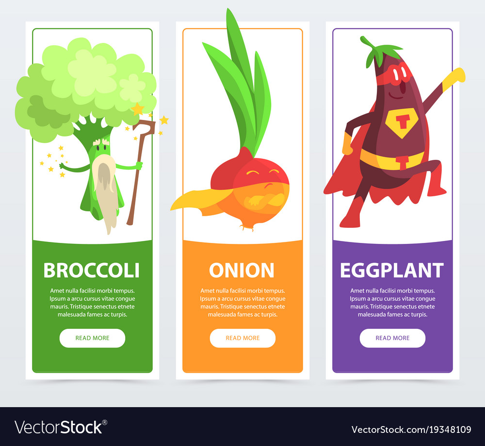 Broccoli onion eggplant banners set funny