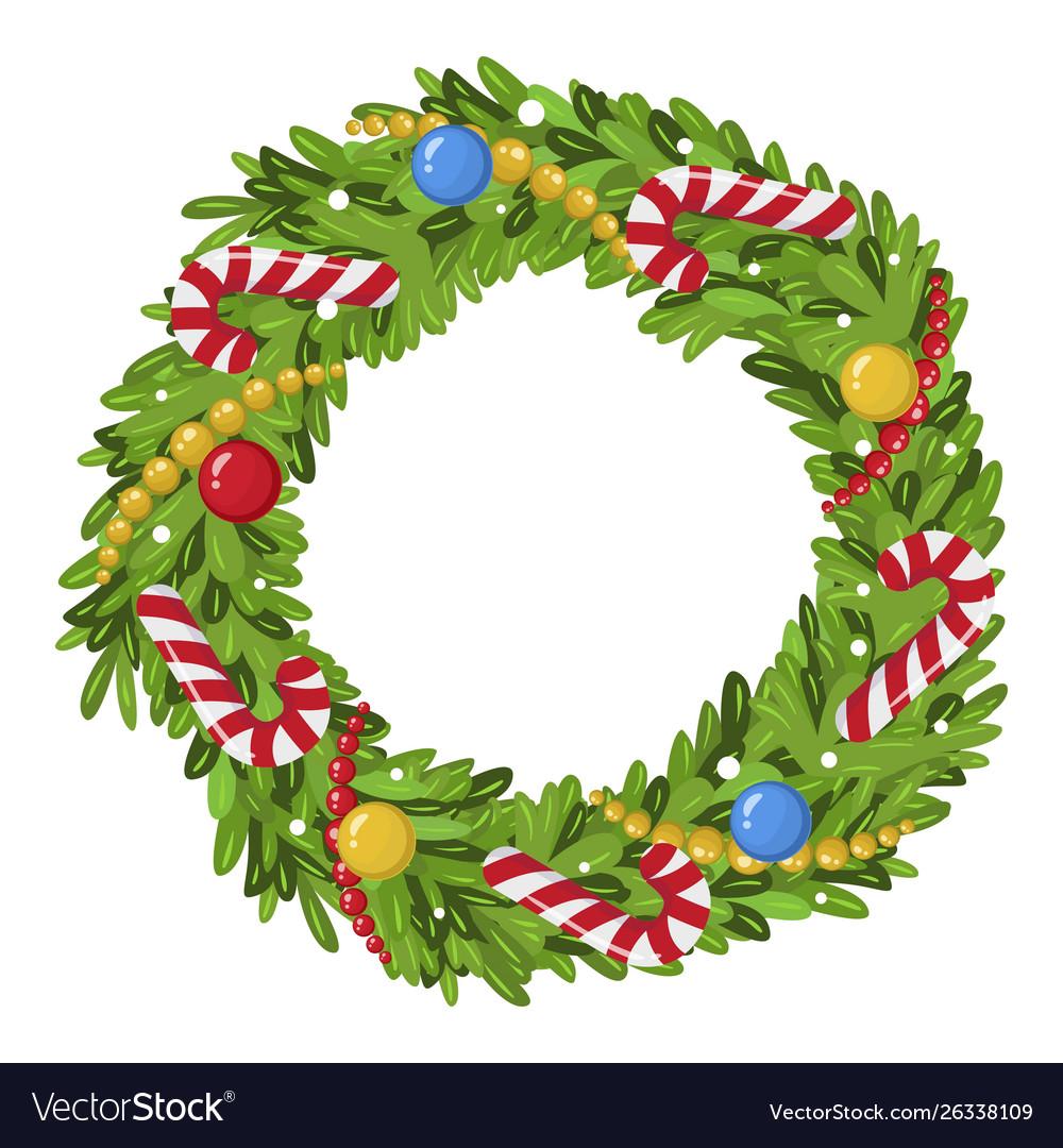 Christmas wreath decoration icon traditional