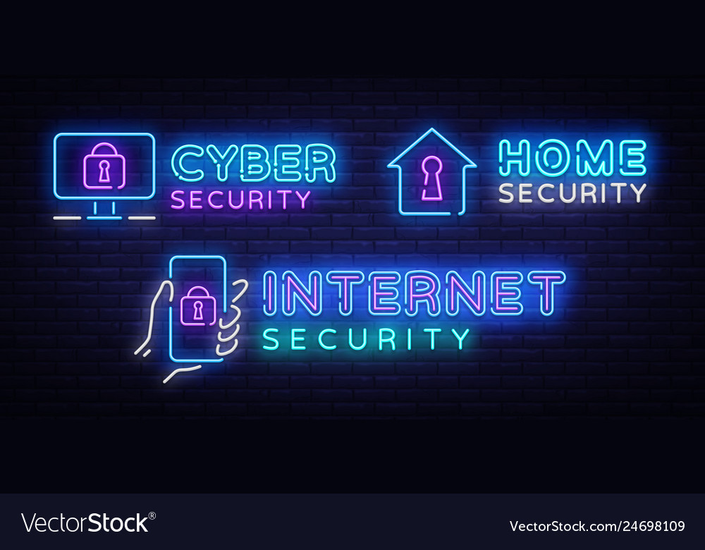 Cyber security neon signs set internet