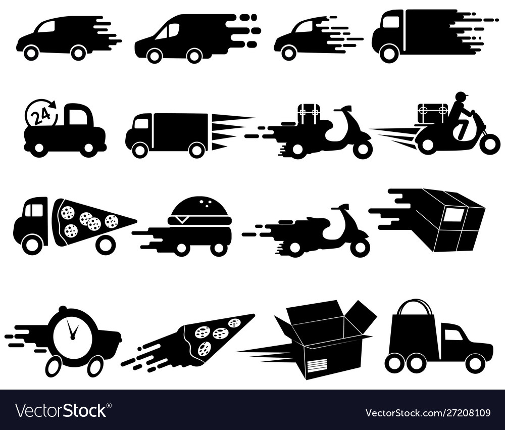 Delivery icons set collection black and white