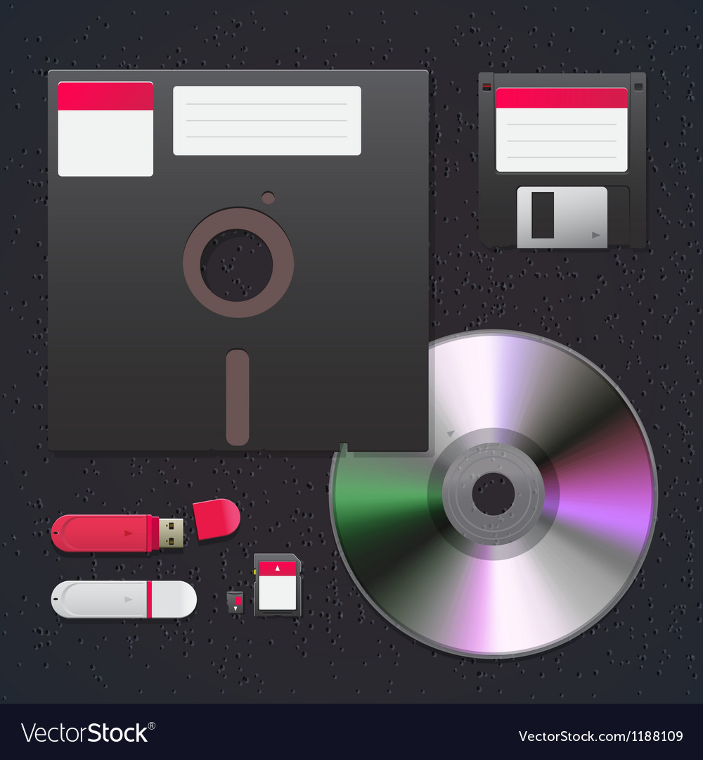 Digital data devices icon set vector image
