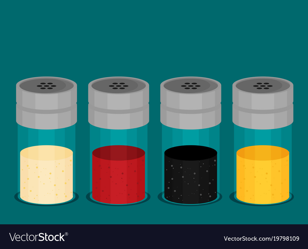Flat set of kitchen spices in the package Vector Image