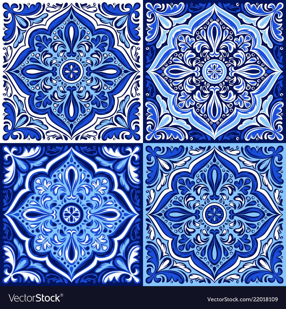 Italian ceramic tile pattern ethnic folk ornament