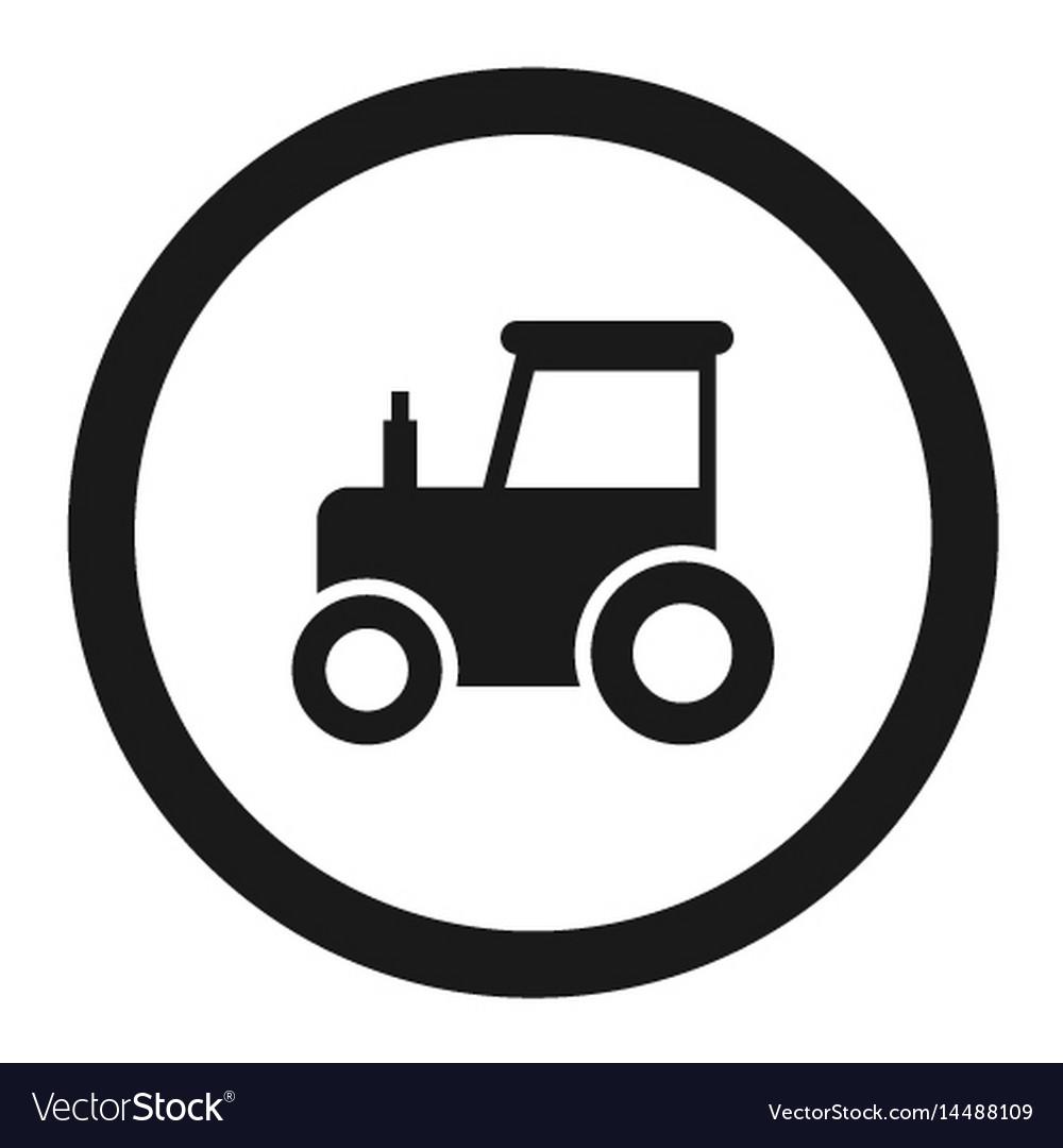 No tractor prohibition sign line icon vector image