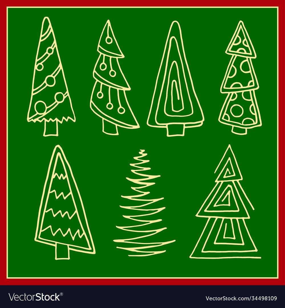 Set christmas trees hand drawn