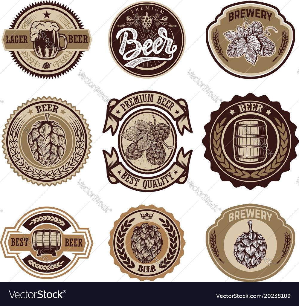 Set of vintage beer labels design elements for