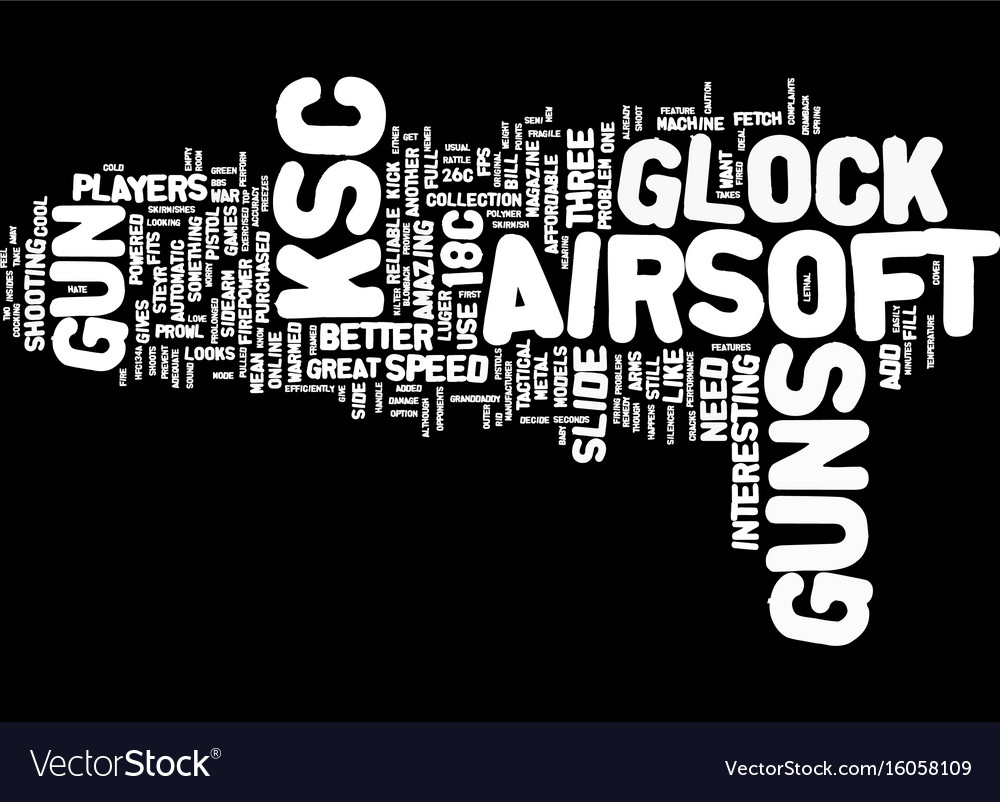 The mean ksc airsoft guns text background word vector image