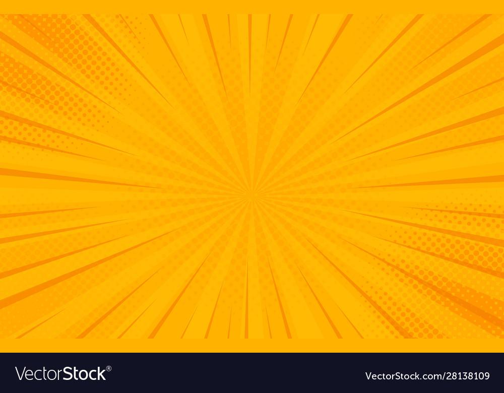 Vintage pop art yellow background banner