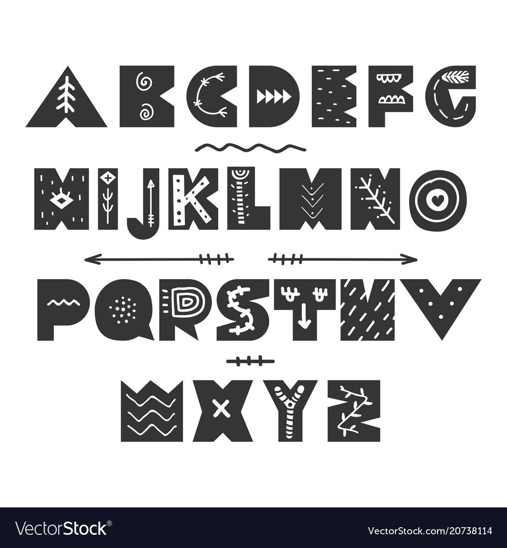 Abstract childish hand drawn alphabet scandinavian vector image