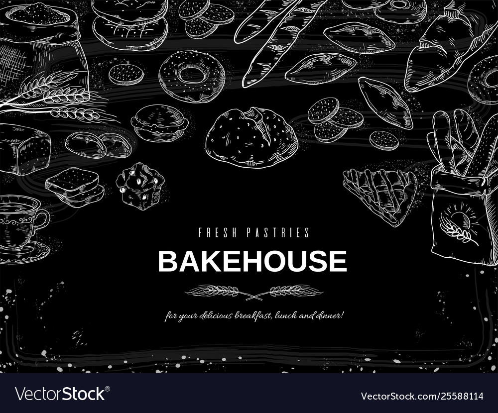 Bakery chalk background blackboard bread and