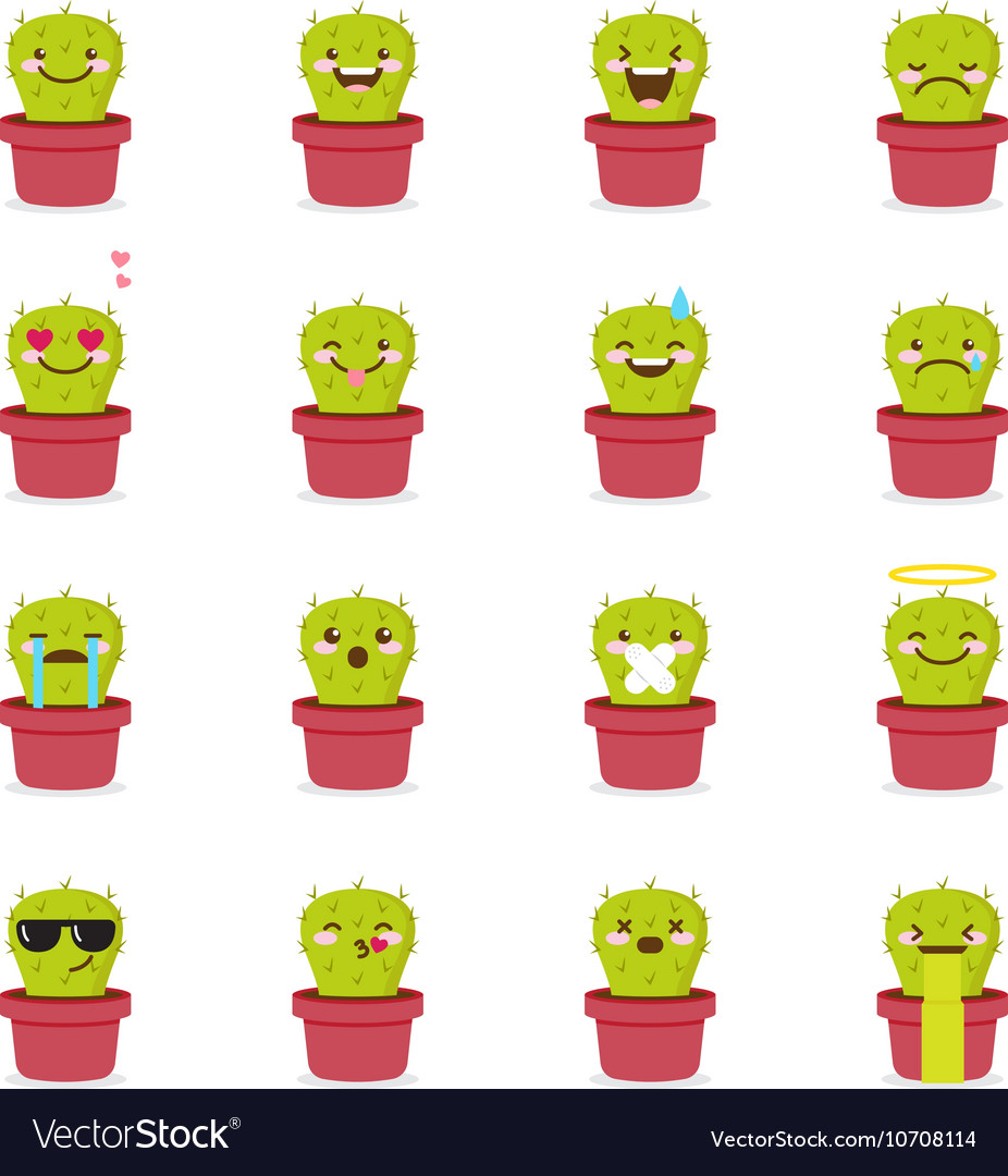 Cactus emoji set Funny succulent emoticons