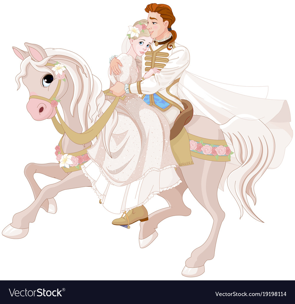 cinderella and prince riding a horse after wedding