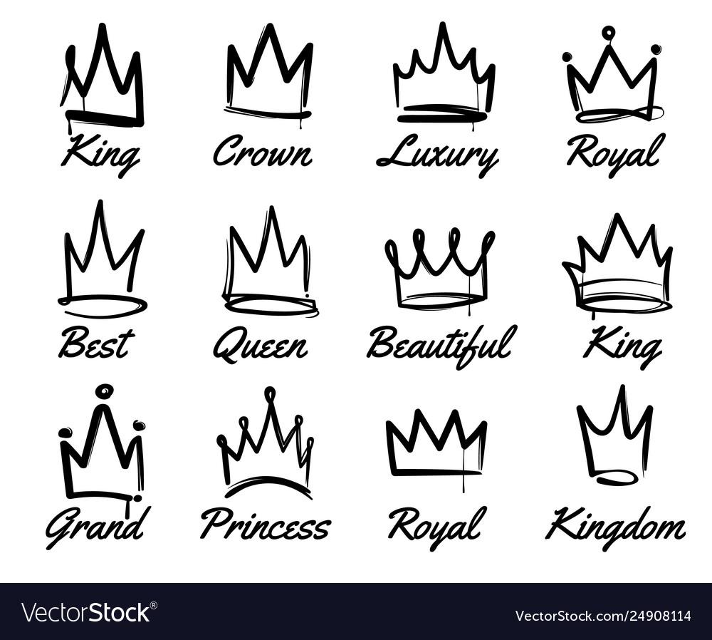 Crown logo hand drawn graffiti sketch and