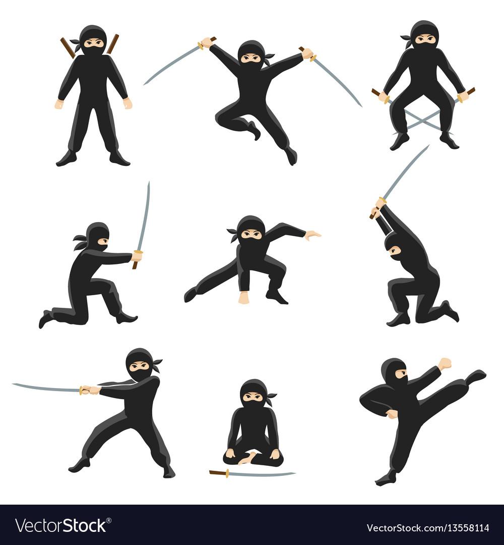 Cute cartoon ninja kicking