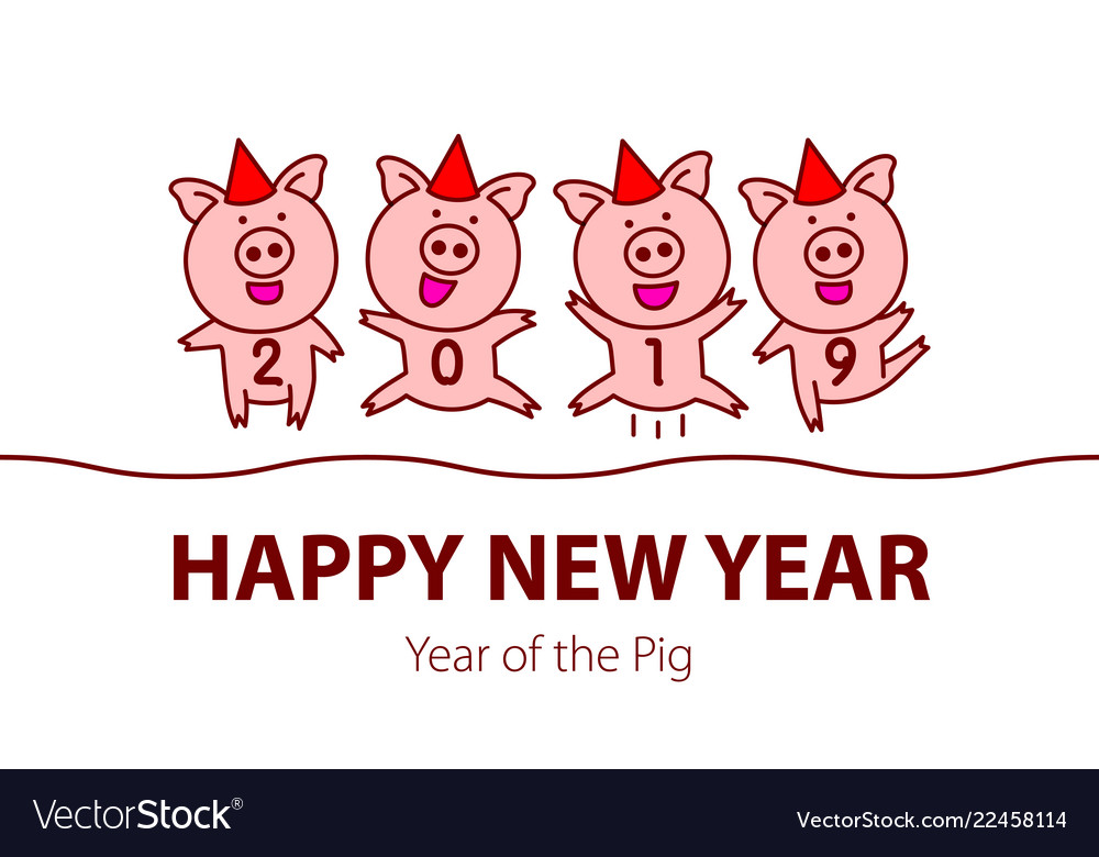Cute funny pink pig happy new year chinese symbol