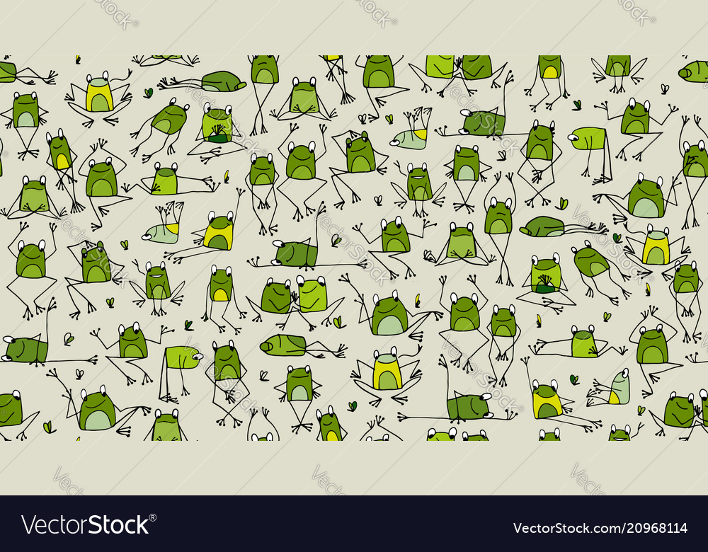 Funny frogs pattern sketch for your design