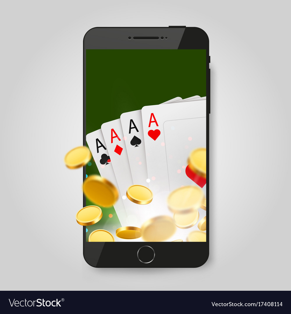 Mobile phone with cards and coins online casino