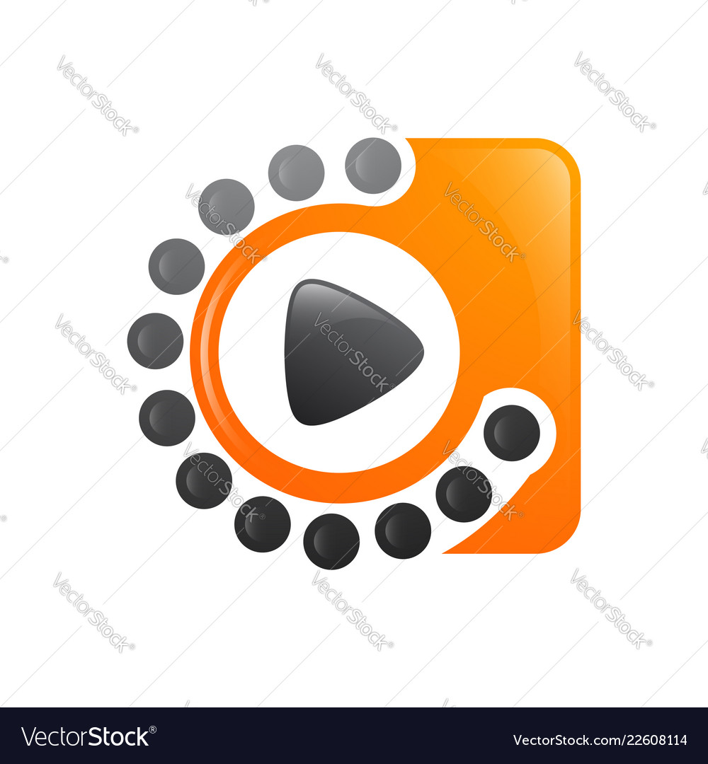 Motion dot media player video logo design template