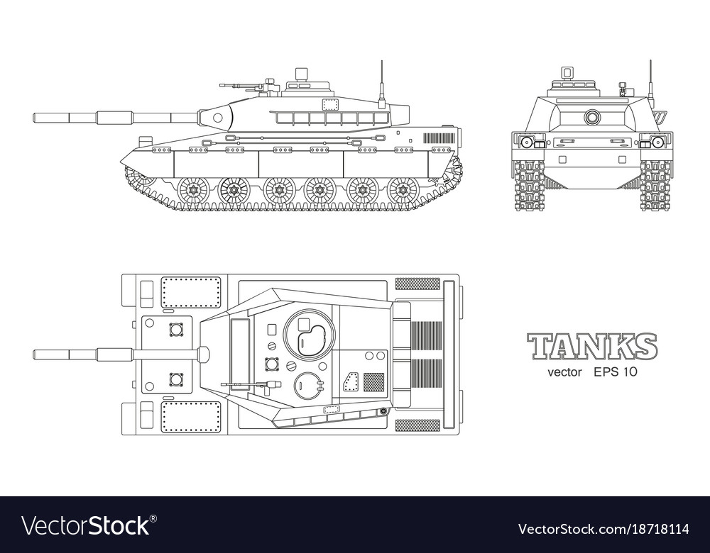 Realistic tank blueprint outline armored car vector image malvernweather Image collections