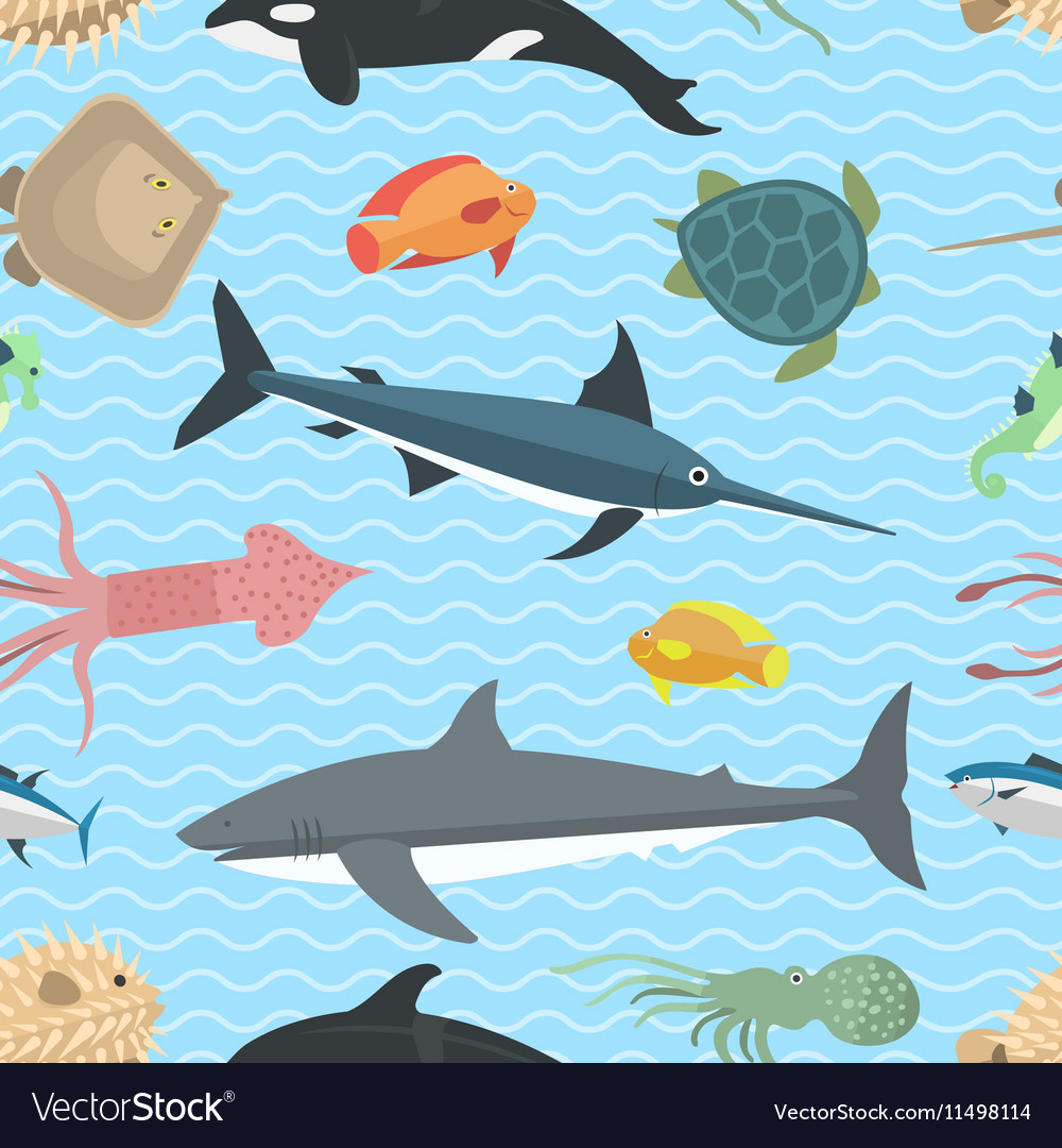 Sea animals seamless pattern