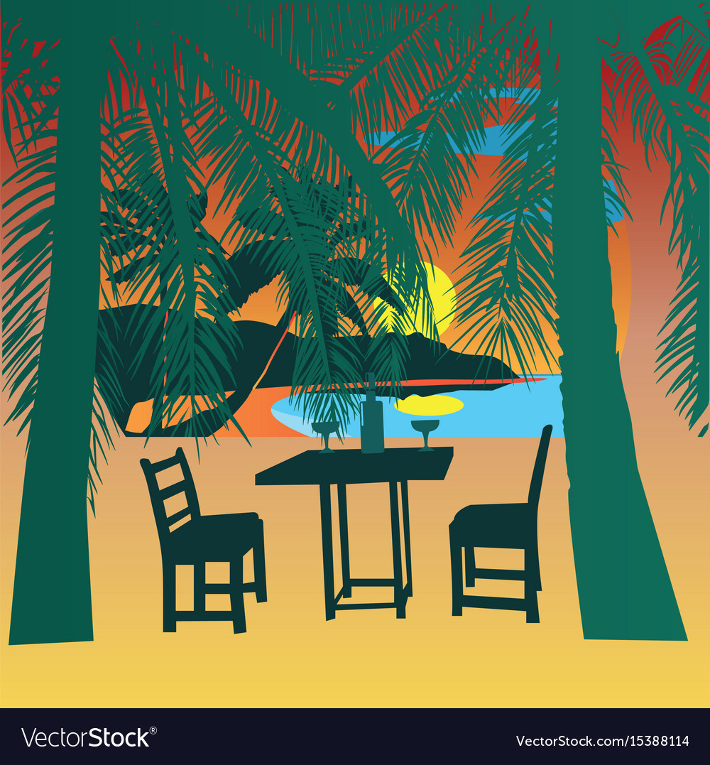 Tropical beach at sunset sunset view poster