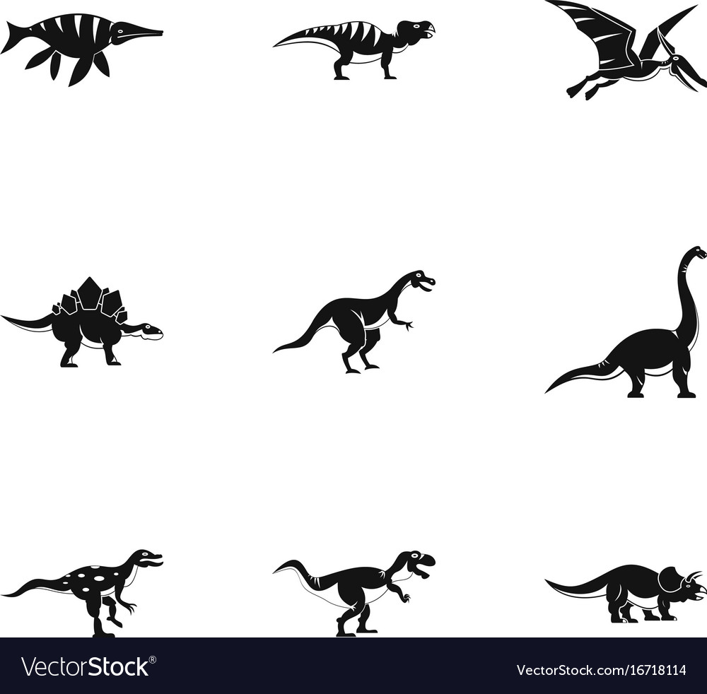 Types of dinosaur icons set simple style vector image