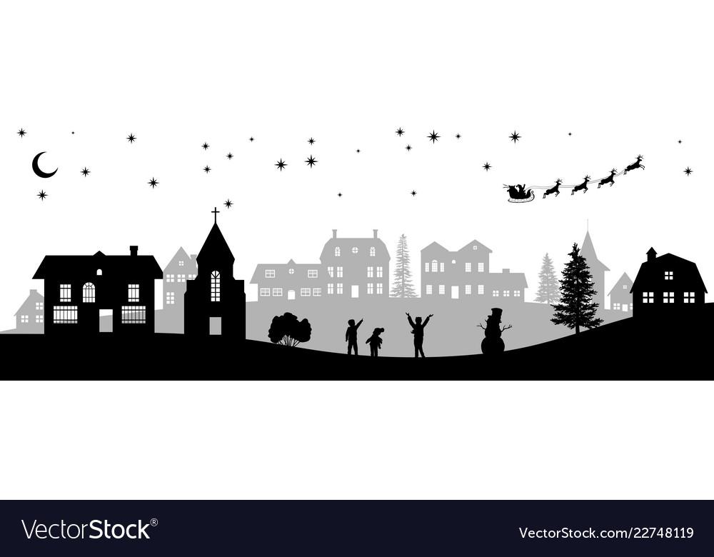 Black christmas panorama silhouettes of kids