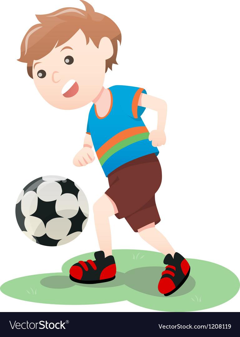 Boy Playing Soccer Ball Cartoon