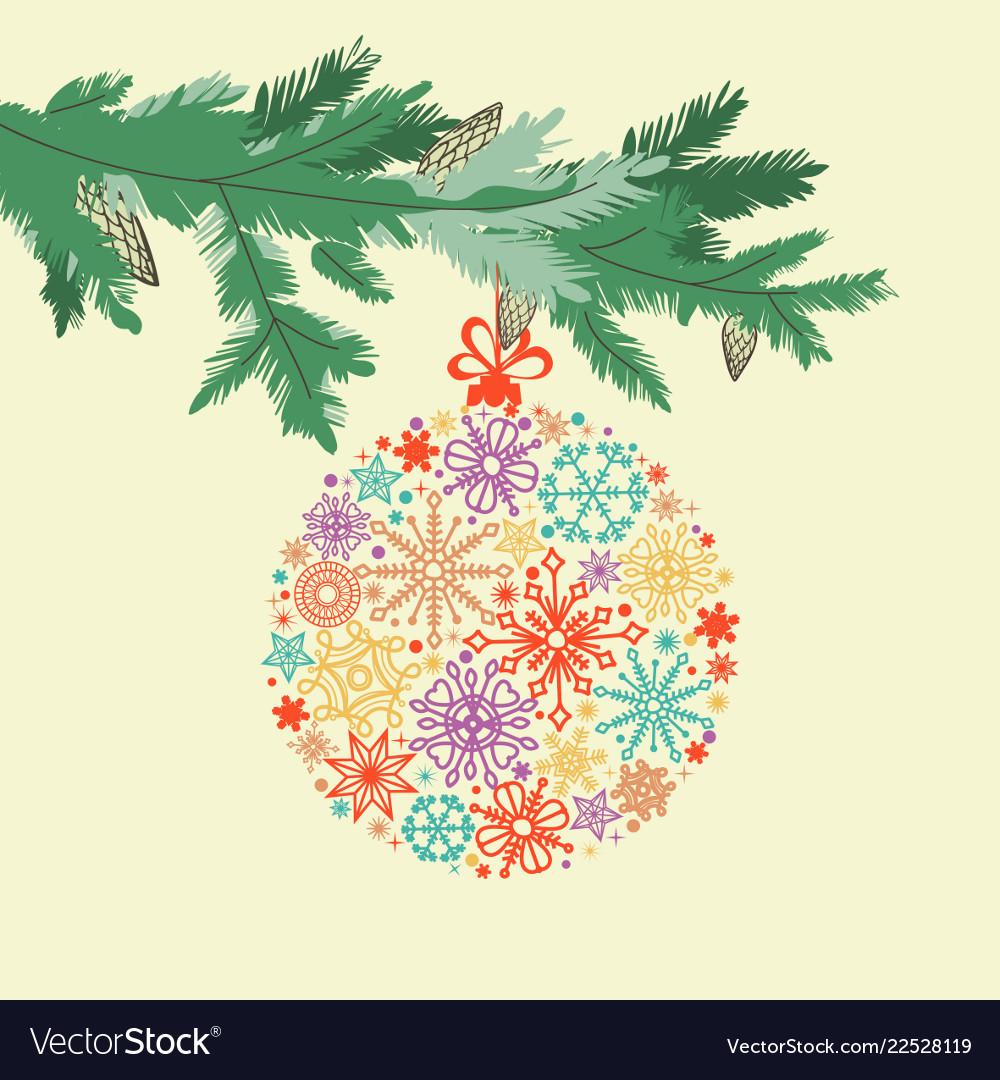 Christmas card pine tree branch